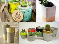 Vaso de concreto para suculentas http://coisiteria.blogspot.com.br/