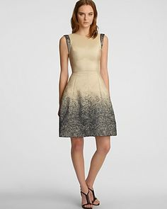 HALSTON HERITAGE Ombre Jacquard Flared Skirt Dress   Bloomingdale's