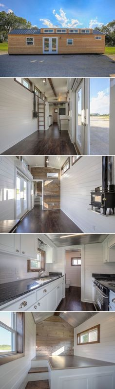This 40' Lake Cabin tiny house is actually a shipping container! The builder, Custom Container Living, gave it a raised gable roof, making it look like a regular house instead of a container home.