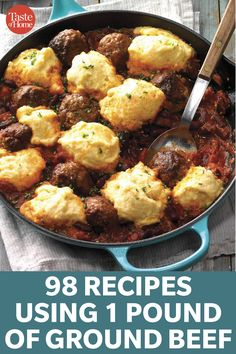 Spice it up and try one of our versatile recipes tonight. 98 Recipes Using 1 Pound Of Ground Beef - 98 Recipes Using 1 Pound Of Ground Beef Pastas Recipes, Pork Recipes, Cooking Recipes, Beef Dishes, Food Dishes, Food Platters, Main Dishes, Goulash, Seafood