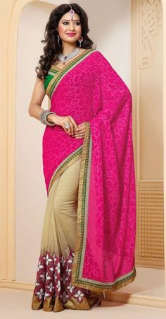 Trendy Beige Brown and Pink Jacquard with Net Half And Half Saree - IG331356USD $ 63.42