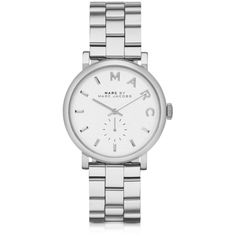 Marc by Marc Jacobs Women's Watches Baker 36MM Silver Tone Stainless... (€215) ❤ liked on Polyvore featuring jewelry, watches, accessories, bracelets, marc jacobs, marc by marc jacobs watches, water resistant watches, white dial watches, stainless steel wrist watch and dial watches