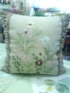 Velvet Ribbon Embroidery Cushion Cover