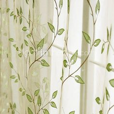 Green Leavies Contemporary Sheer Curtains
