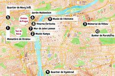 Carte touristique de Prague.