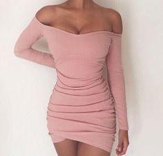 off the shoulder, tight fit, pink mini dress