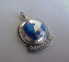 Rare Puffy Sterling Danish Denmark Signed Enamel Globe Charm