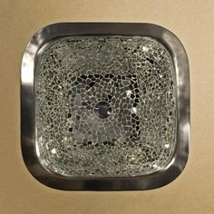 """16-1/2"""" Marguerite Glass Mosaic Copper Sink - Brushed Nickel"""