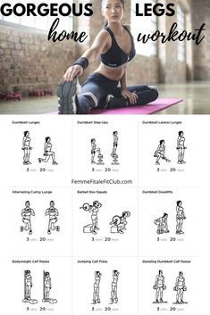 Get your legs shapely and toned with this leg day workout you can do at home. Leg Workout Women, Best Leg Workout, Leg And Glute Workout, Leg Workout At Home, Leg Day Workouts, At Home Workouts, Kids Workout, Weighted Leg Workout, Workout Exercises