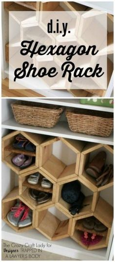 Limited on Space? Make a DIY shoe rack using an old bookshelf and making hexagon inserts to hold the shoes! Genius points. Full tutorial by The Crazy Craft Lady for Designer Trapped in a Lawyer's Body. | Tiny Homes
