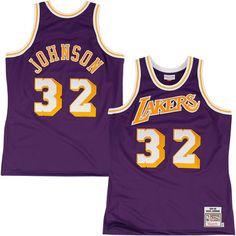 Mitchell & Ness Los Angeles Lakers Magic Johnson 1984-85 Hardwood Classics Authentic Road Jersey