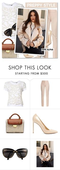 """""""Shearling Moto Jacket - Preppy Style"""" by typealpha ❤ liked on Polyvore featuring Vera Wang, STELLA McCARTNEY, Maison Margiela, Francesco Russo and Cartier"""