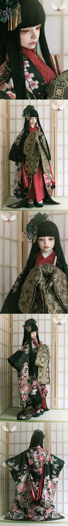 ドール服 75cm/大女/SDサイズ人形用着物セット 黒色
