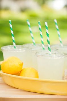 lemonade and paper straws. picnic.