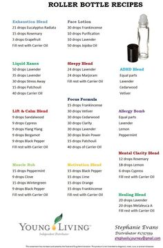 Essential Oils Recipes allergy, focus, sleep, calm, xanex, ADHD... Young Living roller bottle recipes - Google Search: