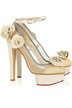 Charlotte Olympia - Flora Leather And Mesh Pumps - Ivory - IT38.5