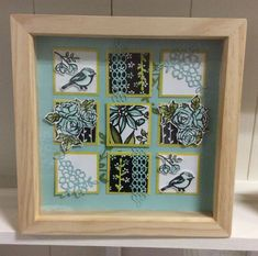 Spring frame using the Petal Palette stamp set from Stampin' Up! by Karen Watts Collage Frames, Box Frames, Collages, Collage Ideas, Frame Crafts, Diy Frame, Diy Shadow Box, 3d Paper Crafts, Paper Crafting