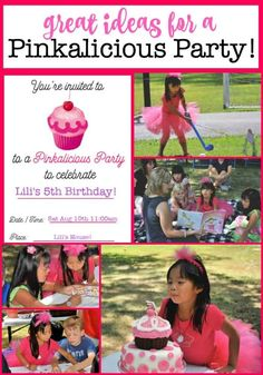 My daughter loves the book Pinkalicious, so we turned her passion into a Pinkalicious birthday party! The story tells of a little girl who can't stop eating her Mom's pink cupcakes- and she eats so many that she turns pink! What a perfect party theme! Birthday Party At Home, Girl Birthday Themes, Kids Party Themes, Birthday Party Games, Diy Birthday, Birthday Party Decorations, Birthday Party Invitations, Party Ideas, Birthday Ideas