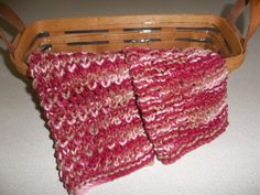 Dish Cloths, A set of 2 Hand Knit Dish/Wash/Face Cloths, Pink, Burgandy, Tan, Mauve by DelsYarnBasket on Etsy