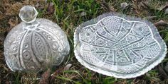 Round pressed glass antique butter dish