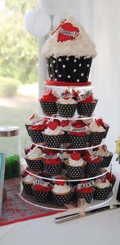Rockabilly Wedding Cupcake Tower More