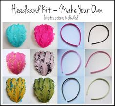 Feather Headband Kit - pick your own colors.  Comes with instructions. DIY make your own feather headband.