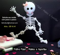 esqueleto de feltro; caveira de feltro; molde esqueleto feltro; skeleton felt