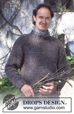 DROPS 70-16 - DROPS Men's Pullover in Angora-Tweed and Silke-Tweed - Free pattern by DROPS Design Drops Design, Tweed, Knit Vest, Textile Art, Print Patterns, Free Pattern, Knitting Patterns, Men Sweater, Turtle Neck