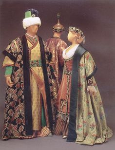 "Costume for Andronico, Tamerlano and Asteria, Act III, Handel's opera, ""Tamerlano"", 1995 Glimmerglass production, designed by theatrical designer, Judy Levin. ""Inspired by"", NOT period clothing."