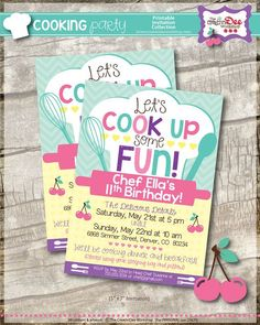 Hello & welcome to The CreativiDee Workshop! ★CHEF/COOKING PARTY INVITATION - PINK★ Lets cook up some birthday fun! {LISTING DETAILS} This Chef/Cooking Themed Printable Invitation Collection includes the following non-editable high quality PDFs as shown above: • 5 x 7 Invitation - sent per your file format choice above • 5 x 7 Thank You Cards - Blank - 2 per 8.5 x 11 page • 5 x 7 Thank You Cards - Template Style - 2 per 8.5 x 11 page (perfect for new writers!) • 2 x 4 Address Labels - 10 per…