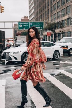 Silk chiffon dress in burgundy floral pattern with ruffled trim detailing. Nyfw 2018, Floral Fashion, Silk Chiffon, Dress Outfits, Short Dresses, Kimono Top, Lace Up, Street Style, High Boots