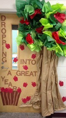 I love this apple door decoration idea!So cute and perfect for fall! Students could write their names onthe apples or or the name of their favorite apple treat.    followpics.co