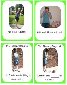 Past Tense Verb Cards: 38 photo cards depicting regular and irregular past tense verbs. Preschool Speech Therapy, Articulation Therapy, Speech And Language, Language Arts, Irregular Past Tense Verbs, Early Childhood Activities, Speech Delay, Teaching Vocabulary, Verb Tenses