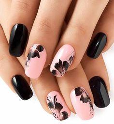 Gel nails and Nail art: 2018 trends, original ideas Loading. Gel nails and Nail art: 2018 trends, original ideas Chic Nail Art, Chic Nails, Trendy Nail Art, Pink Black Nails, Black Nail Art, White Nail, Winter Nail Art, Winter Nails, Summer Nails