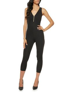Textural Catsuit with Front Zip Accent