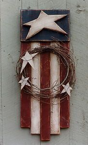 "Primitive Wood Pattern - Stars And Stripes - Flag 40"" Tall - Country Thoughts"