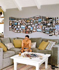 7001.7k A truly unique beach vacation photo wall display idea. Inspired by those weathered fences that you see along sand dunes at the beach, it gives the space a fun and relaxed vibe. The homeowners made the beach dune fence themselves, but we don't know how they exactly constructed it. Here are a few tips …