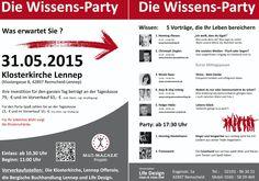 Mehr Wissen! Die Wissensparty machts mit 5 Vorträgen möglich. Am 31.05.2015 in der Klosterkirche in Remscheid-Lennep. kumulus ist mit einem #SocialMedia Beitrag dabei.