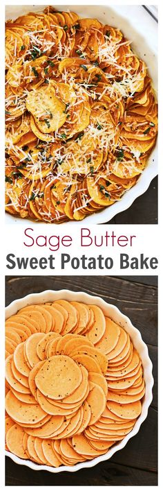 Sweet potato bake with cheese, sage and butter sauce. Easy peasy sweet potato side dish that goes well with any main entrees and perfect for holidays Sweet Potato Side Dish, Potato Side Dishes, Thanksgiving Recipes, Fall Recipes, Holiday Recipes, Sage Butter Sauce, Side Dish Recipes, Paleo Side Dishes, Main Dishes