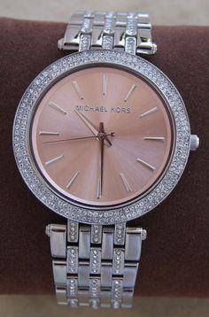 Nwt michael kors darci silver glitz rose gold dial womens ladies watch mk3218