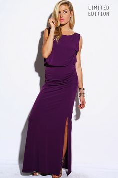 #1015store.com #fashion #style royal purple grecian drape ruched cut out open back high slit evening party maxi dress-$60.00