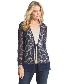 NWT $149 CHICO'S STUNNING CROCHETED NAVY BLUE LACE JACKET Size 0. Small #Chicos #CrochetedLace