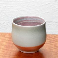 Wood fired yunomi - copper glaze with pink atmospheric reduction flashing   Dianne Collins, Melbourne