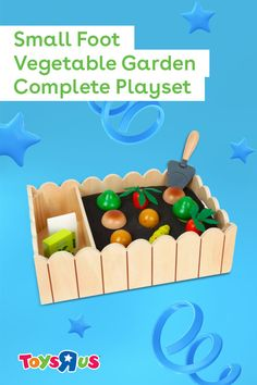 There's lotsa fun sproutin' in the Small Foot Vegetable Garden Complete Playset by Small Foot. They'll grow 🥔, 🥕, 🍄, 🥦…and fend off a hungry 🐛, too! Teach 'em where their food comes from as they have a great time with this super cute pretend playset.