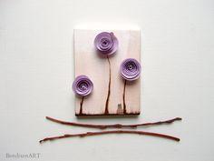 Lavender Paper Flowers-3D Mixed Media Art-Nursery Art, Office Decor, Cubicle Accessories by BendixenArt on Etsy