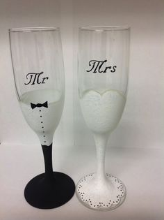 Handpainted Wedding Glasses by CraftsbyAlycat on Etsy, $28.00