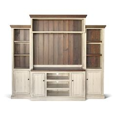 Our Palisades 4 piece Entertainment Center is form and function combined to produce the perfect balance between functional home entertainment center and a beautiful piece of furniture that creates any rooms focal point. Shown in our Weathered Ivory and Da Furniture Care, Solid Wood Furniture, Furniture Making, Furniture Storage, Console Furniture, Furniture Ideas, Etsy Furniture, Weathered Furniture, Repurposed Furniture