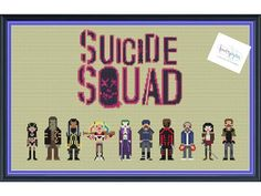 Suicide Squad Cross Stitch Pattern DIGITAL PDF by knottybytes $5. Enchantress, Killer Croc, Slipknot, Harley Quinn, Joker, Captain Boomerang, Deathstroke, Diablo, Katana, Rick Flag.