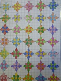 Graph Paper Drawings, Graph Paper Art, Doodle Drawings, Doodle Art, 3d Drawings, Islamic Pattern, Blackwork, Modele Pixel Art, Fat Quarter Quilt