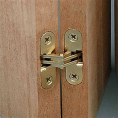 This invisible hinge is ideal when a flush, smooth surface with no visible hinge is required. The brass finished zinc hinge opens a full and has a laminated link construction which reduces friction for smooth operations. Invisible Hinges, Furniture Hinges, Hinges For Cabinets, Barrel Hinges, Small Jewelry Box, Secret Rooms, Wood Doors, Ideas, Woodworking Tools
